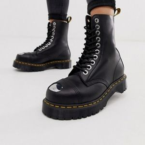 Dr Martens BXB Black Yellow Leather Cap Boot NEW
